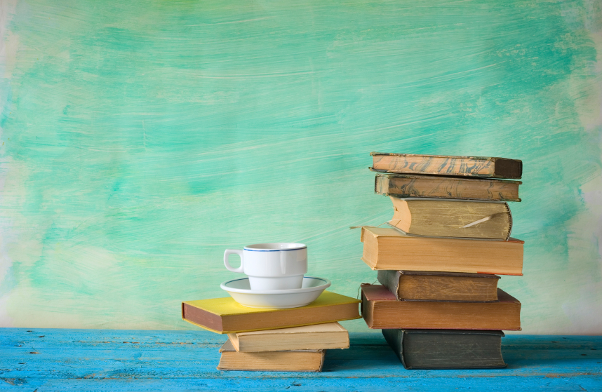 vintage books and a cup of coffee,free copy space